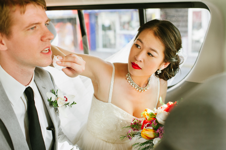 Bride and groom in limo, mexico