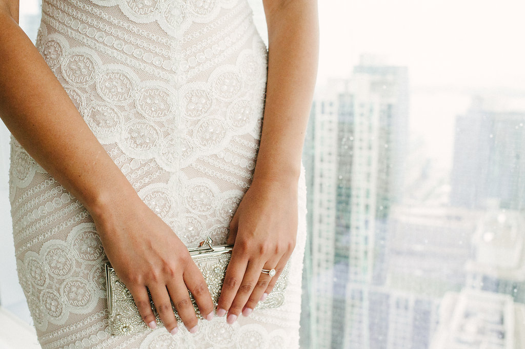 wedding clutch with sky line
