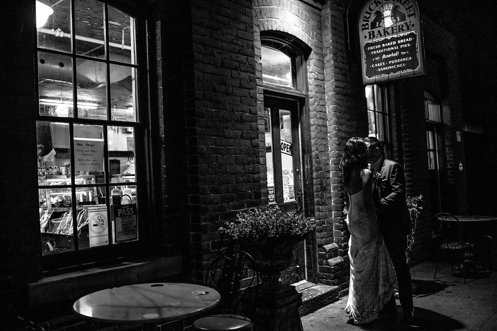 a stolen kiss outside distillery district bakery