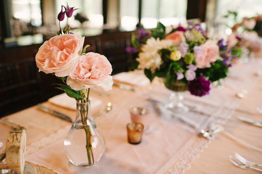 soft pink wedding reception flowers