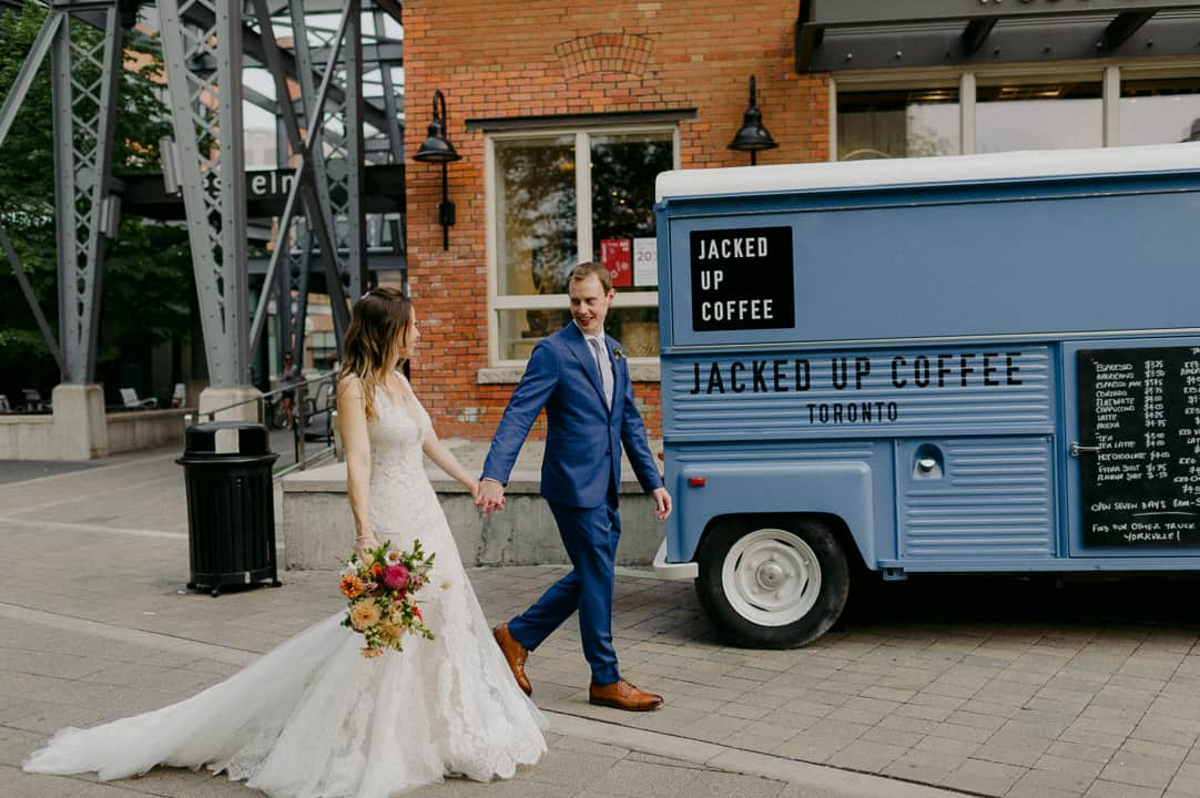 Bride and groom by Jacked Up Coffee truck in Toronto